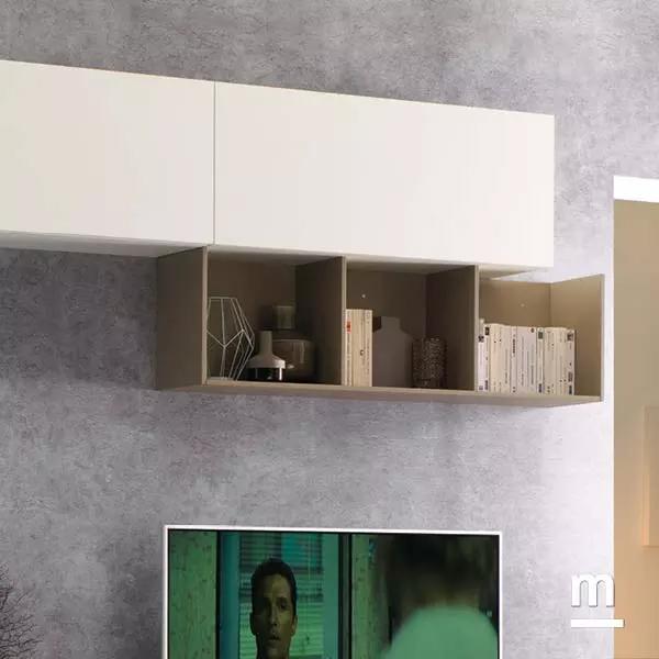 cubibox metallici e wallbox sospesi con anta per un soggiorno moderno