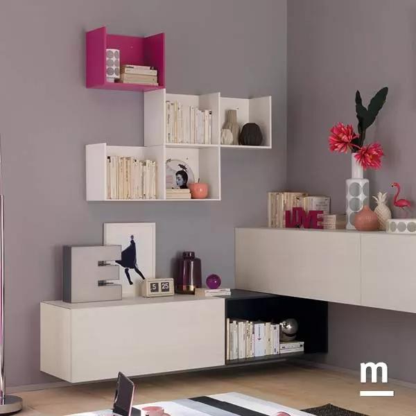 soggiorno angolare sospeso moderno con wallbox e cubibox laccati