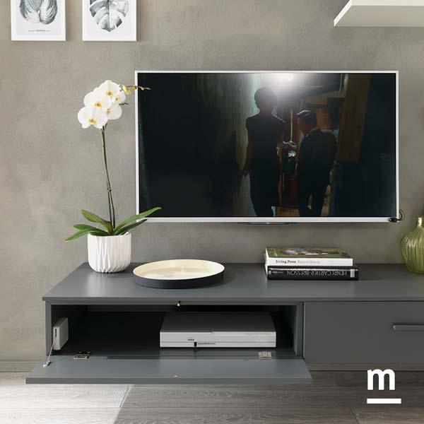 base tv sospesa con wallbox laccati grafite e raccordo in metallo cromato