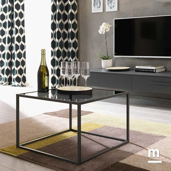 tavolino da soggiorno cage con profilo in metallo laccato verde oliva e ripiano in vetro