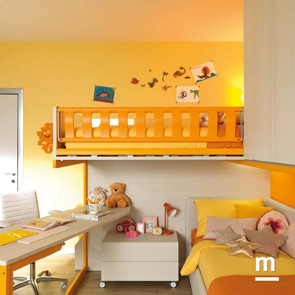 Protezione in metallo Paint Iron laccata mandarino per il letto superiore