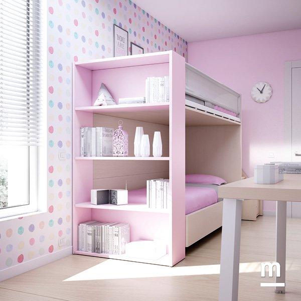 Letto a castello con fianco libreria laccato rosa cipria con 4 ripiani