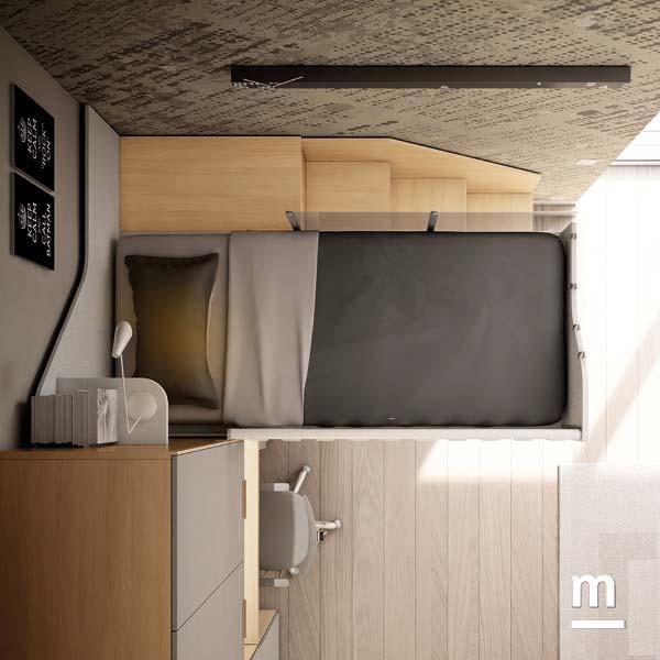 Soppalco Concept Evo con scala di accesso laterale strutturale con 3 gradoni e libreria sottostante