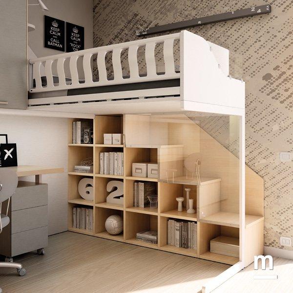 Scala laterale per soppalco Concept Evo utilizzabile come libreria con vani a giorno