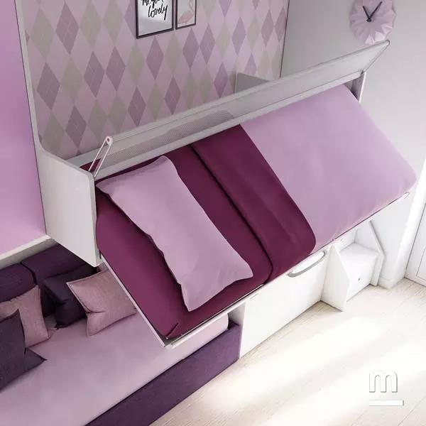 Letto superiore con meccanismo ribaltabile Flow per rifare il letto facilmente