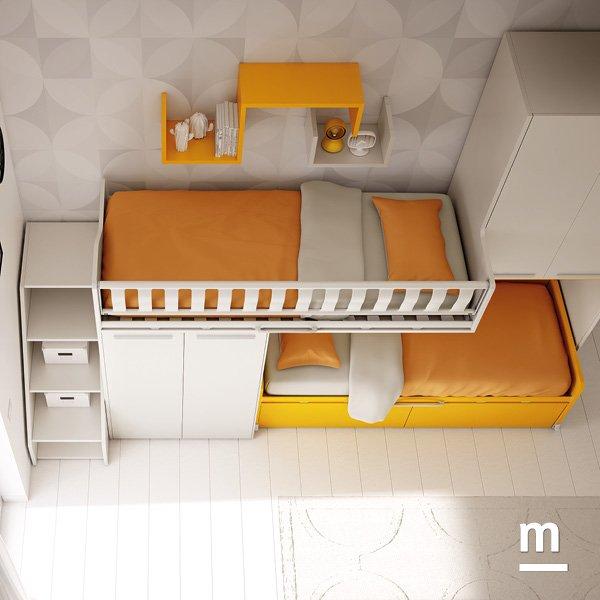 Soppalco Logic con 2 letti sfalsati che ricavano spazio per l'armadio e una mini cabina armadio