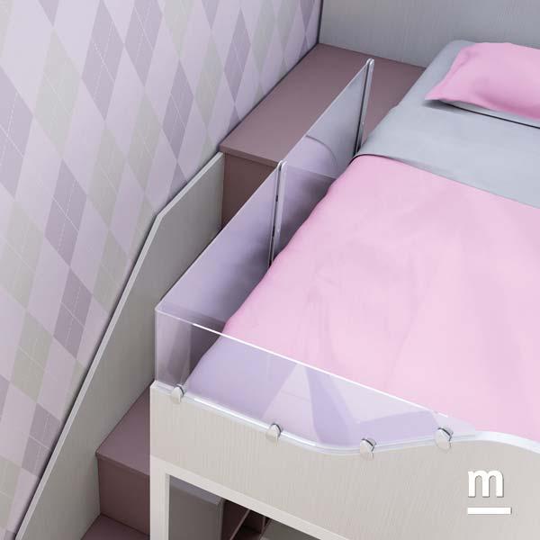 Protezione in policarbonato laterale per il letto superiore del soppalco