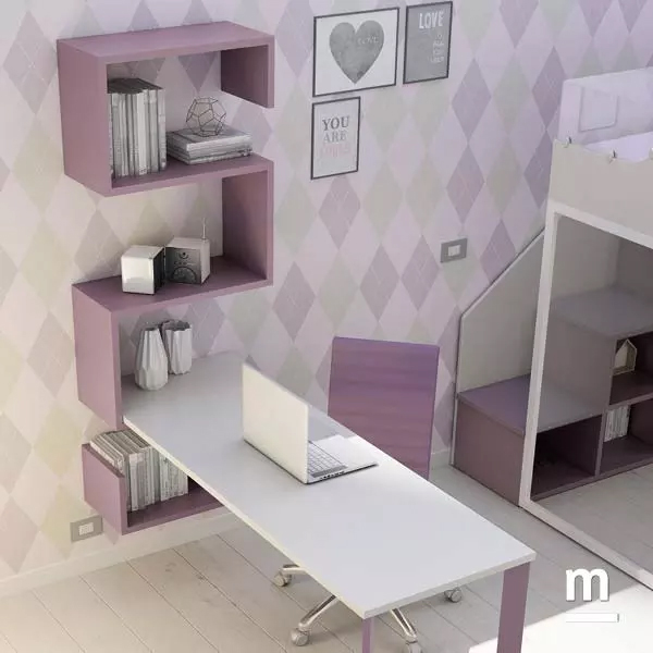 Composizione a parete della libreria Dedalo con scrivania con piano a sbalzo e fianco Form in metallo laccato mora