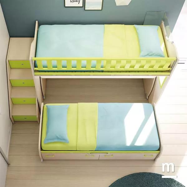 Letto inferiore Space estraibile su ruote con 2 cestoni per il letto inferiore del soppalco Level