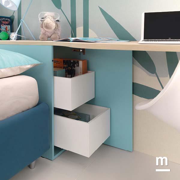 Modulo Arcon laccato cielo con 2 cassetti interni estraibili per la testata del letto
