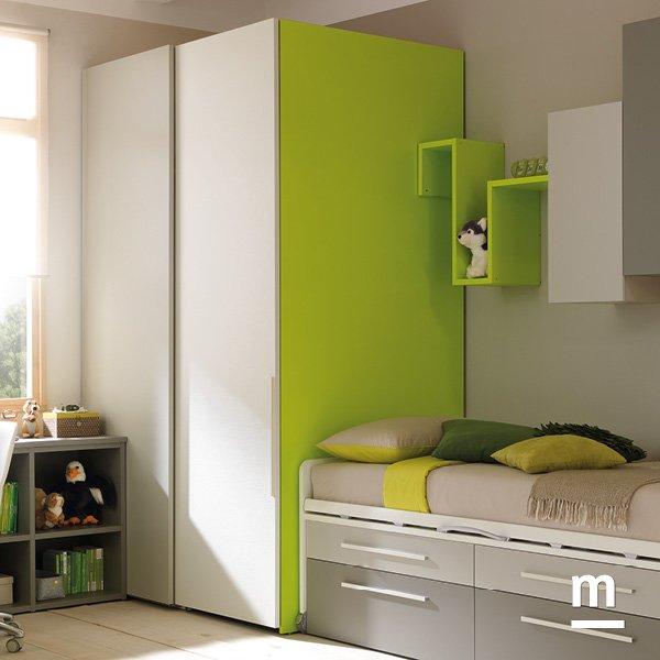 Cabina armadio rettangolare Wide Slider verde cedro, corda e bianco
