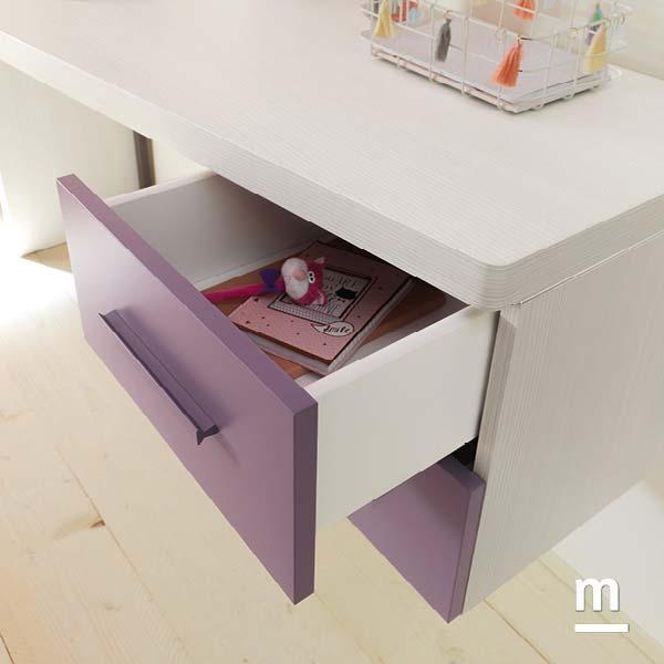 Wallbox sospesi con 2 cassetti sotto scrivania con frontali laccati mora