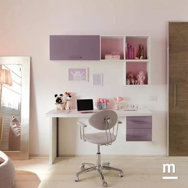 Zona studio in cameretta attrezzata con wallbox sospesi con cassetti e vani a giorno