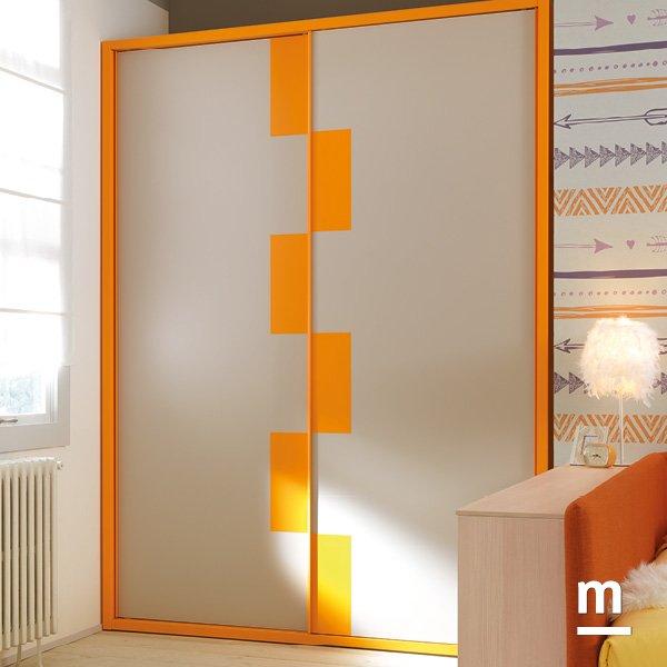 Armadio scorrevole a 2 ante Frame Wall con cornice laccata mandarino e tasselli colorati