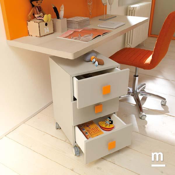 Cassettiera estraibile su ruote con 3 cassetti con maniglie Colors mandarino