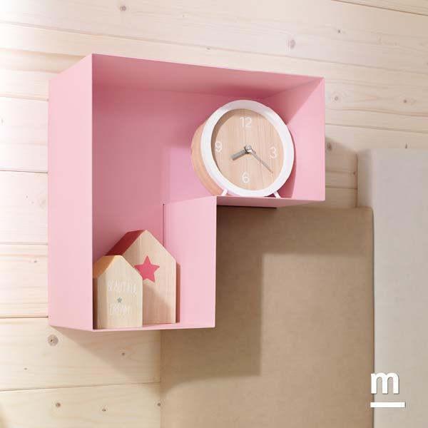 Contenitore pensile L-Box in metallo laccato rosa cipria