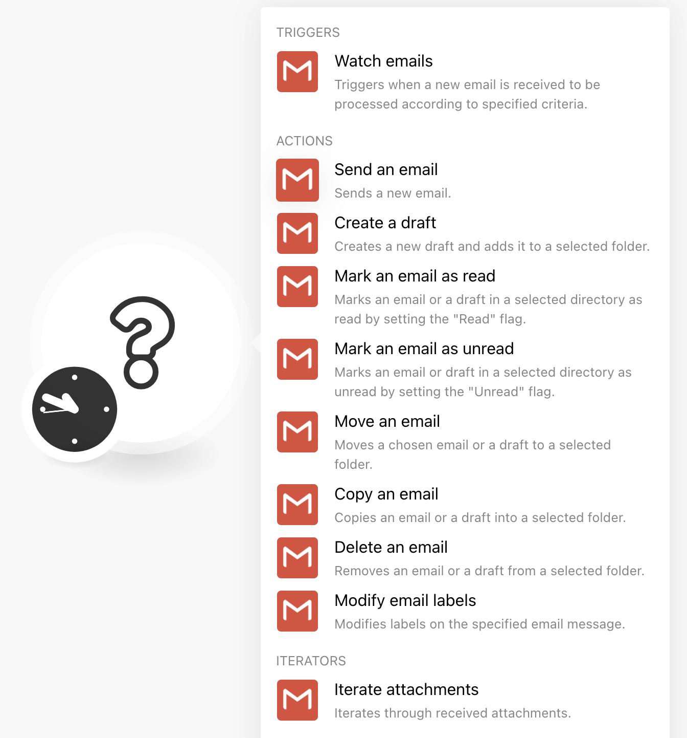 Choix de call API pour la bulle Gmail