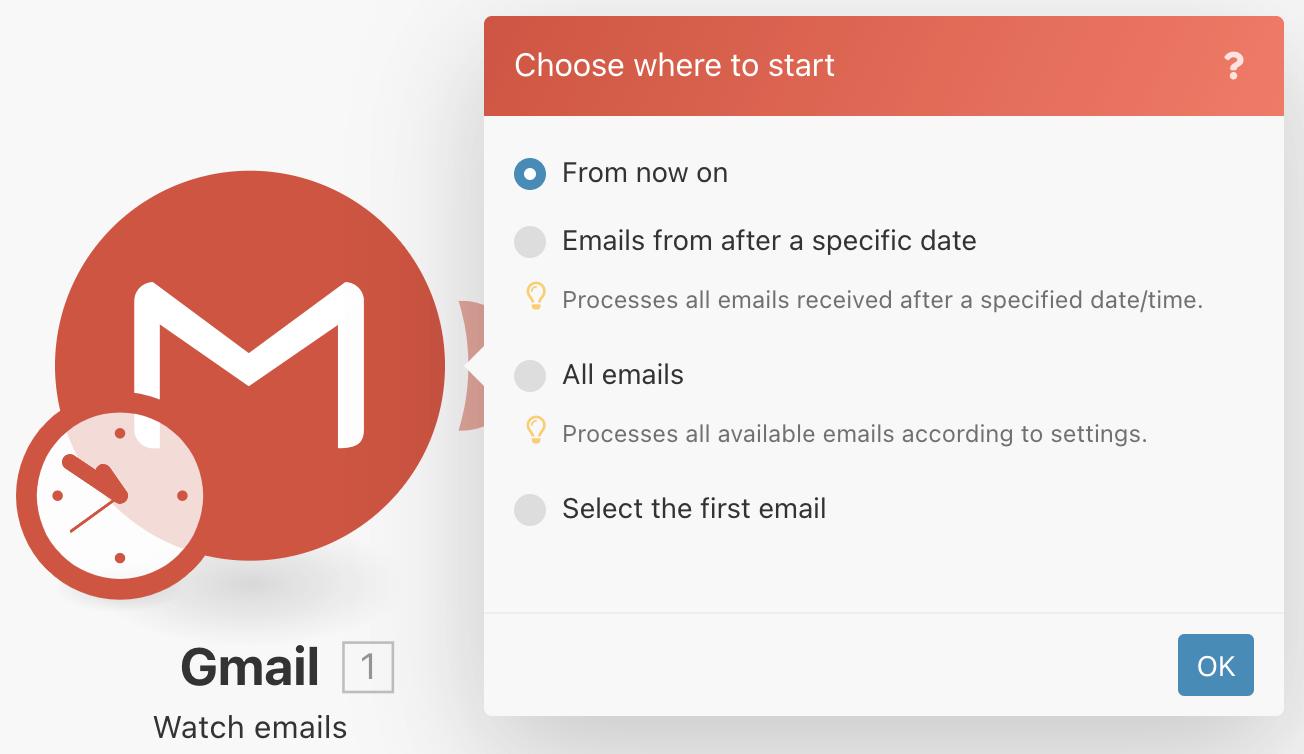 Choix du départ de l'autmatisation Integromat avec Gmail