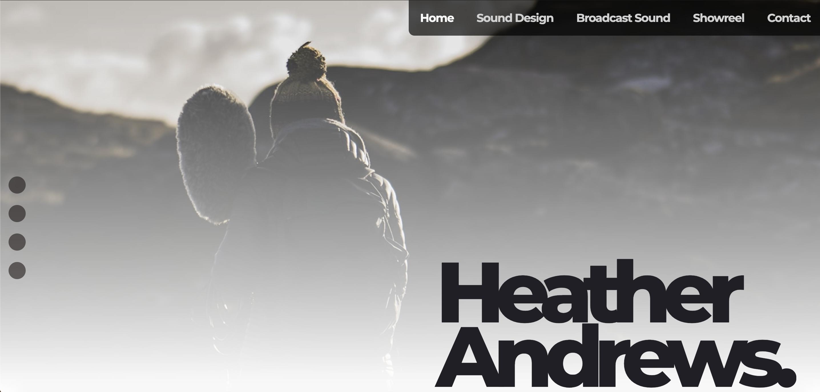 An image of the website design for Heather Andrews Sound Engineer & designer