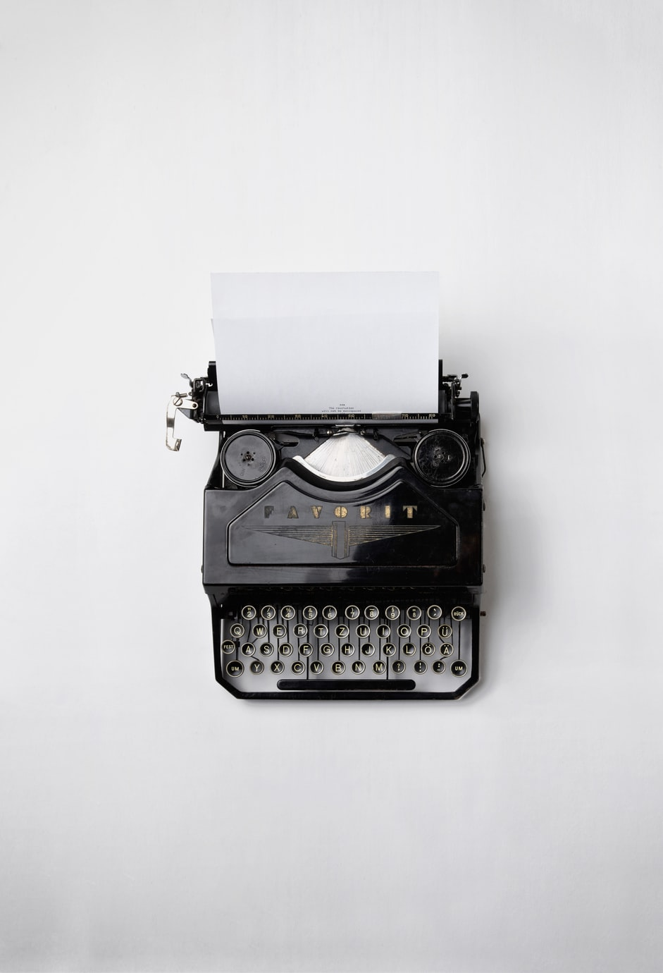 An image of a typewriter on the Contact page