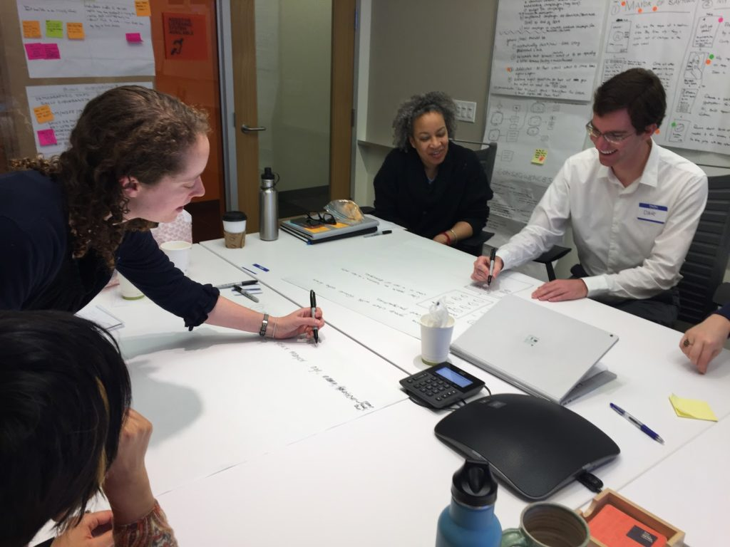 Bay Area future planners collaborate with Exygy on day one of a design sprint.