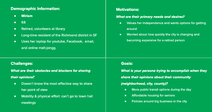 A user persona created to help shed light into the motivations, challenges, and goals of users.