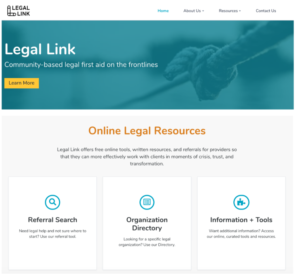 Legal Link's current homepage