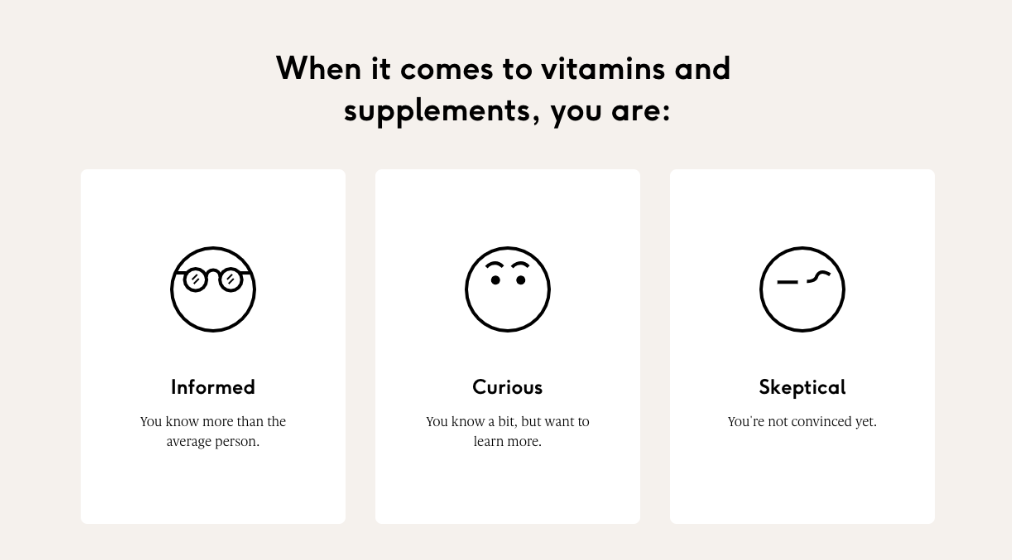 A screenshot of Care Of's vitamin survey. The questionnaire asks how familiar you are with taking vitamins in the past. An example of a guided flow.