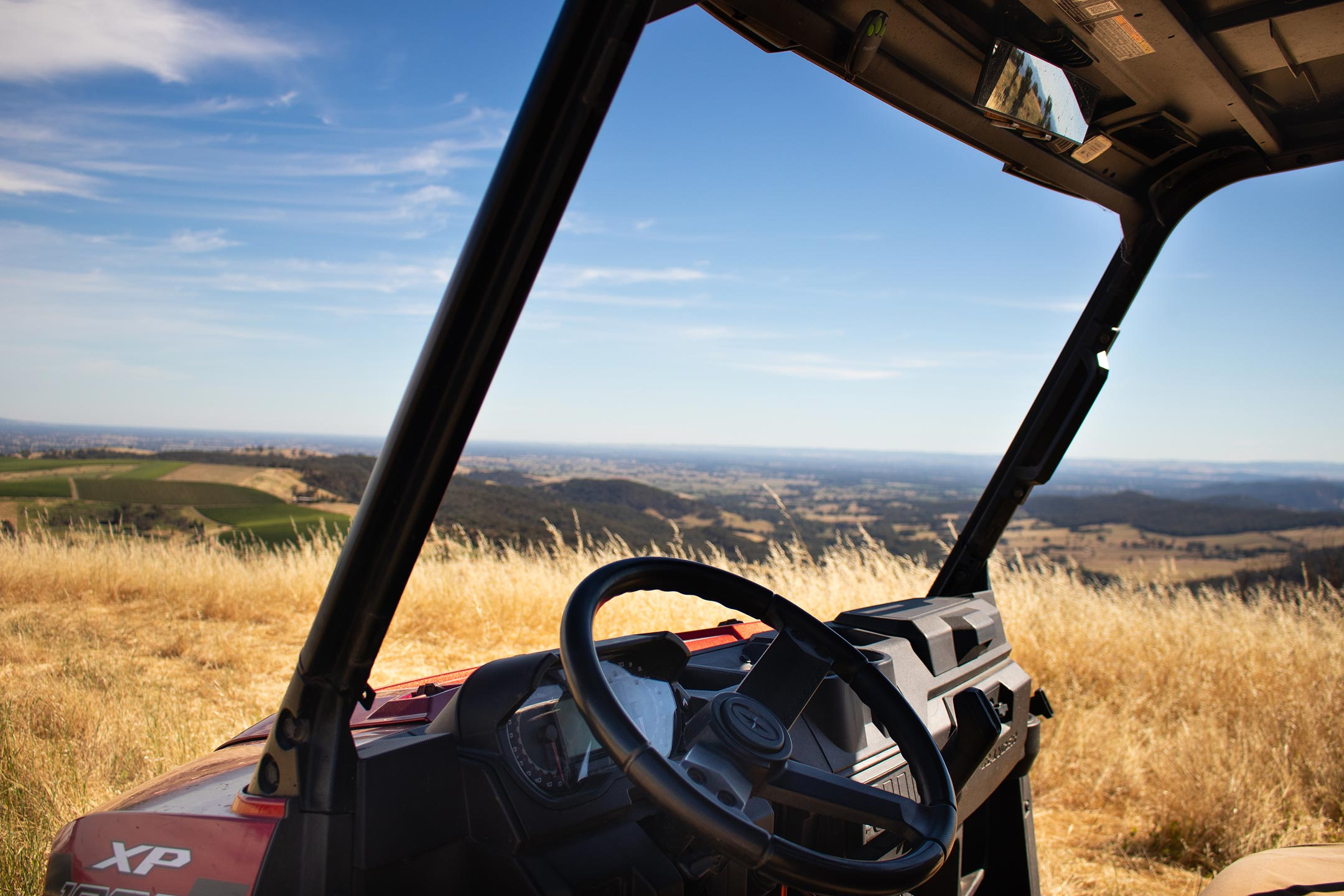 Behind the wheel of a buggy at elevation652.