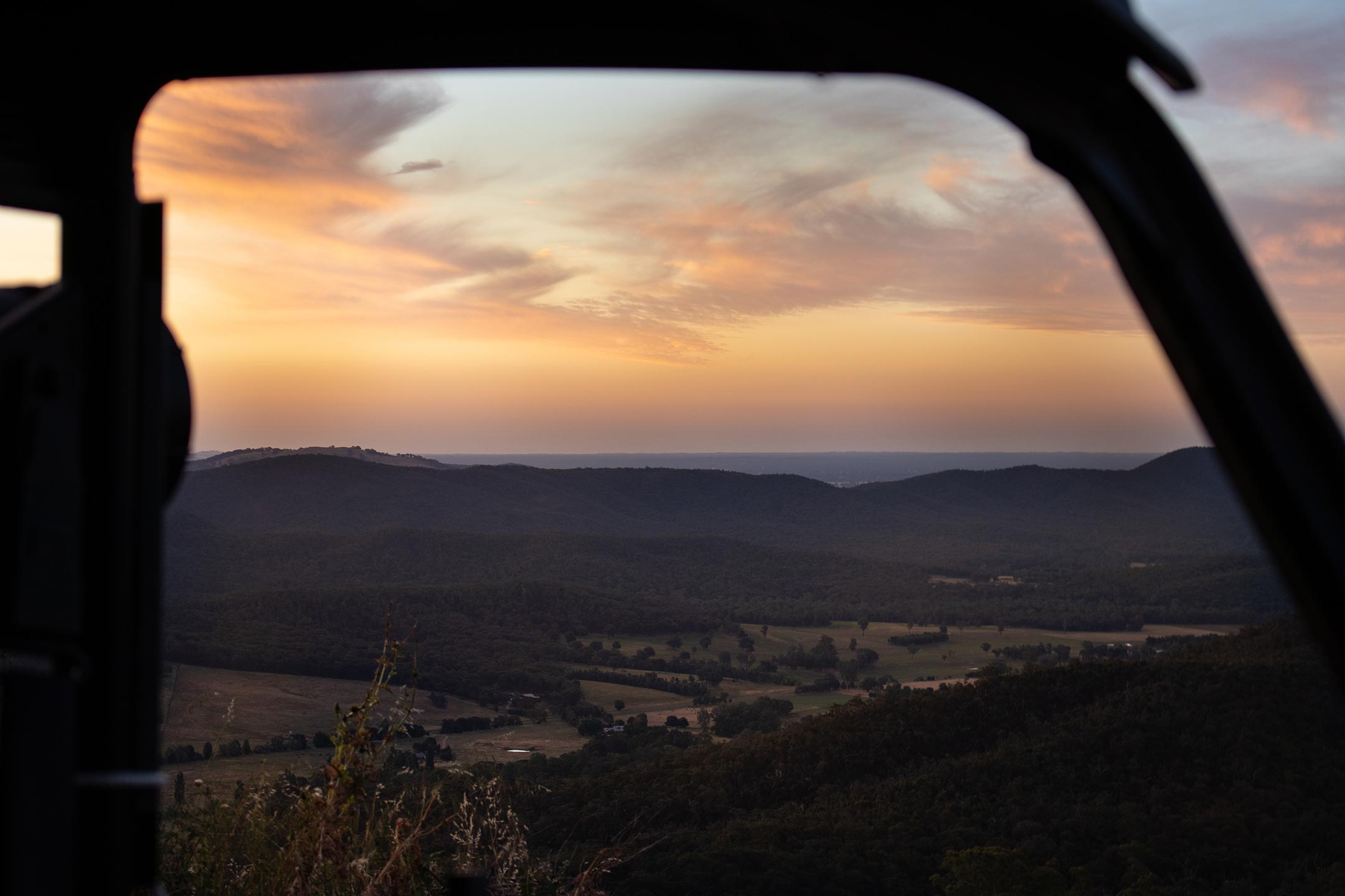 Sunset through the window of a buggy at elevation652.