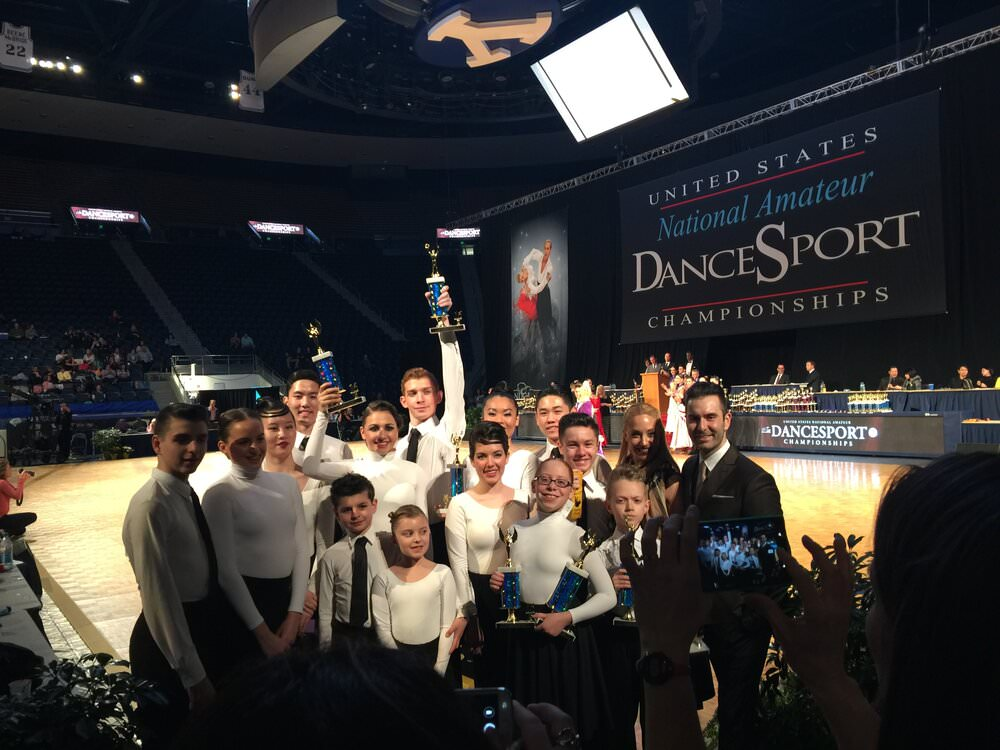 A picture of dancers coached by Atanas at US national championships