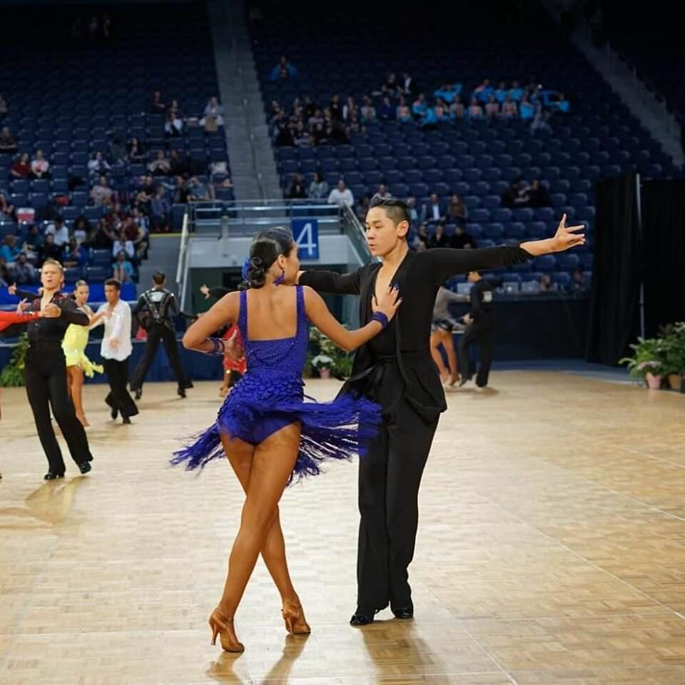 a picture of Rachel and Miles dancing at Us National Championships