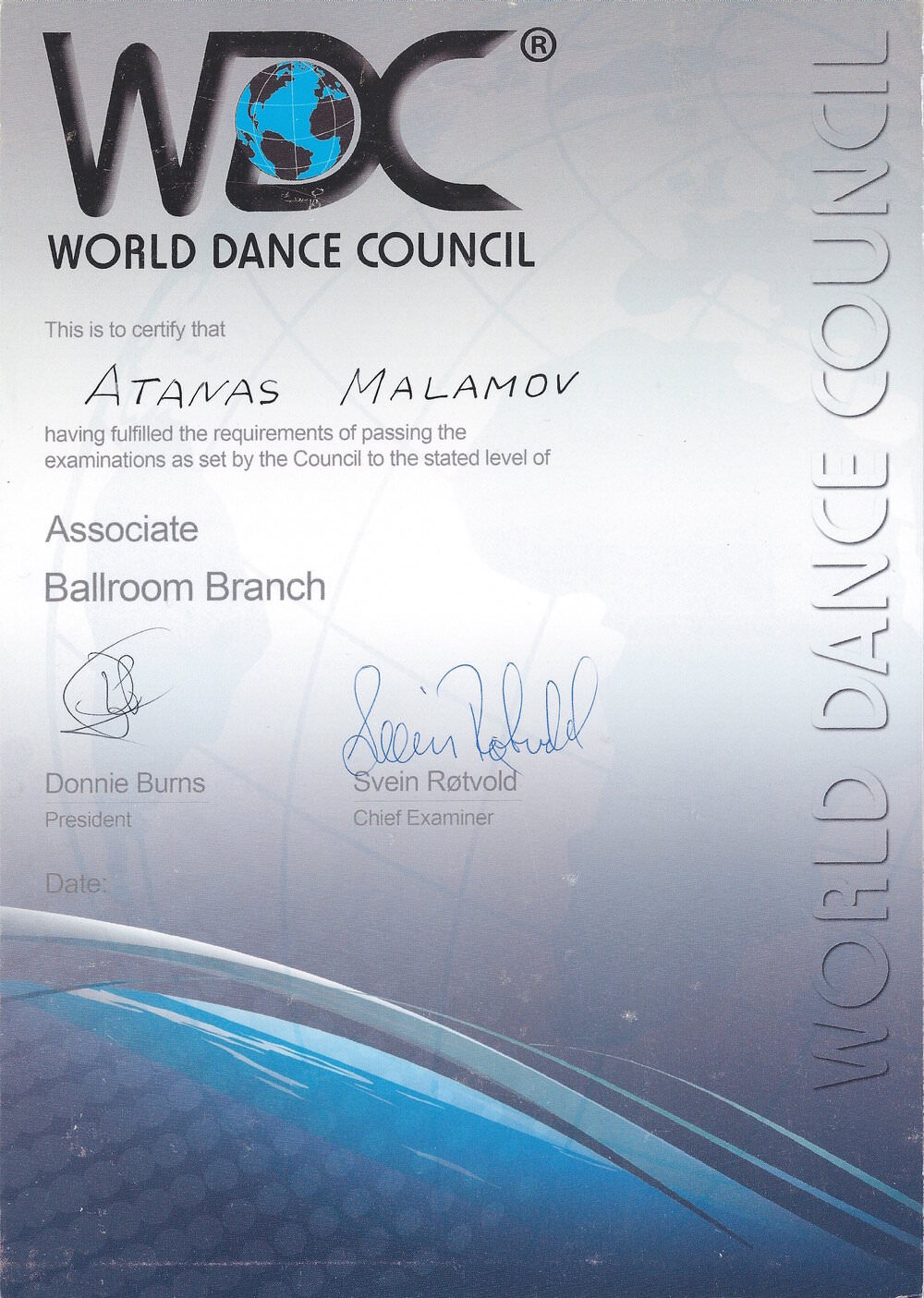 Atanas Malamov's judging certification diploma from WDC- ballroom
