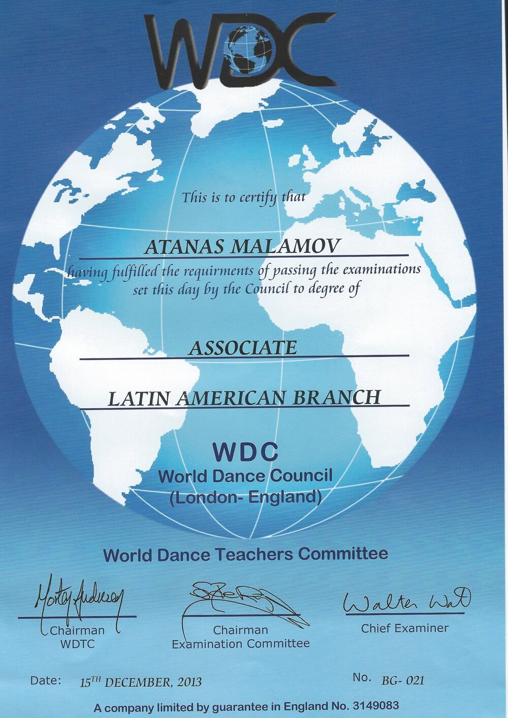Atanas Malamov's judging certification diploma from WDC- international latin