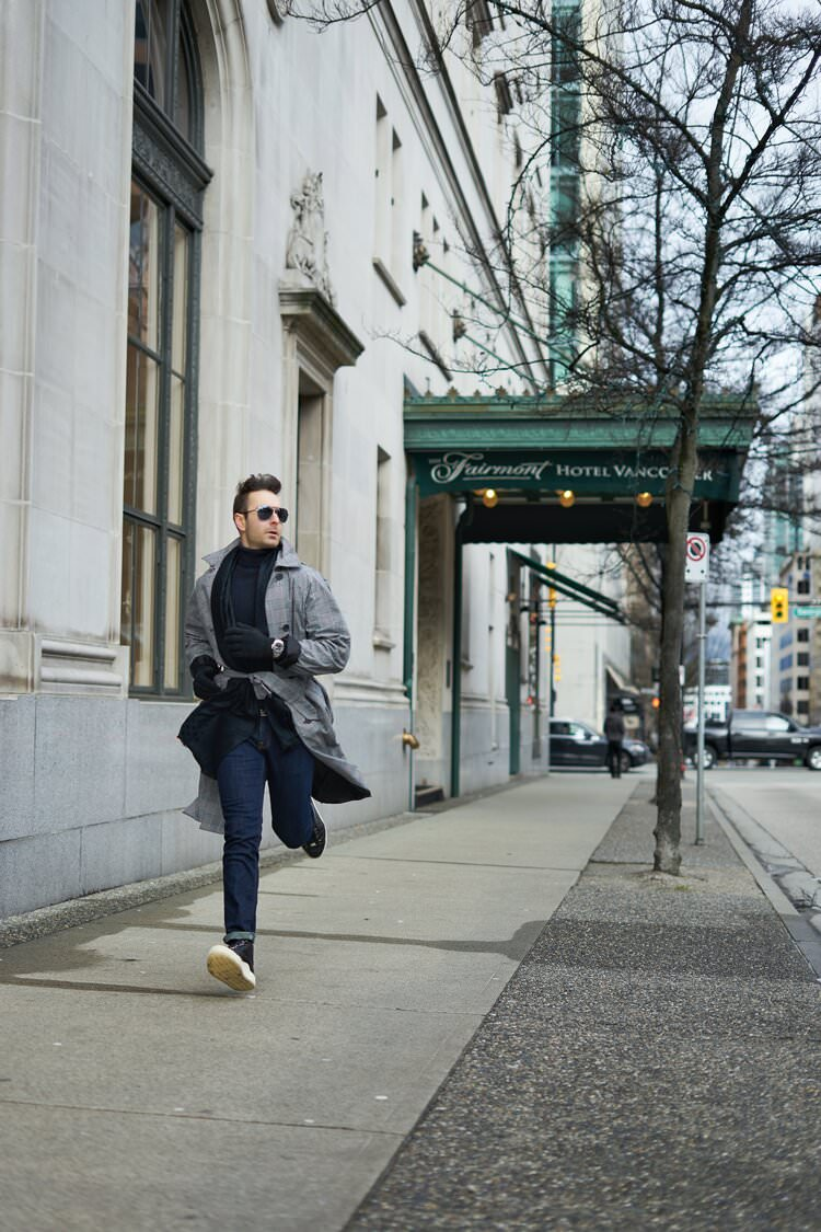 Atanas Malamov in a fashion photoshoot in vancouver