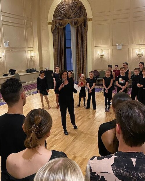 Shirley Ballas giving her all in her Jive lecture at NYDF Training Camp