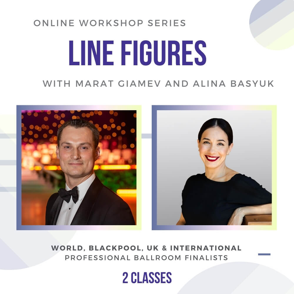 """This 2 class series is a rare opportunity to learn from World, Blackpool, UK & International Professional Ballroom Finalists-Marat Gimaev and Alina Basyuk. The subject will be """"Line Figures"""" and it will be hosted on Zoom. Dates: January 10th and 17th, Sun, 10 am PST, 1 pm EST If you cannot make it on the day, don't worry! We will have a recording that you can purchase for review later."""