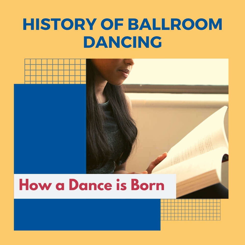 a picture of a girl reading ballroom dance history