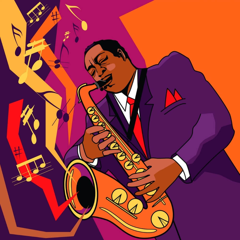 A picture of a man playing the saxophone