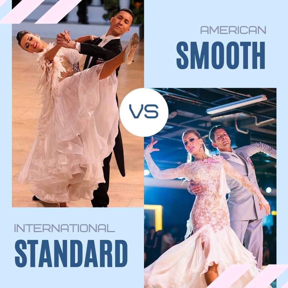 a picture of two couples- one dancing american smooth , the other- international standard