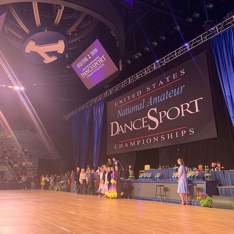 a picture of the stage at US National Amateur Dancesport Championships