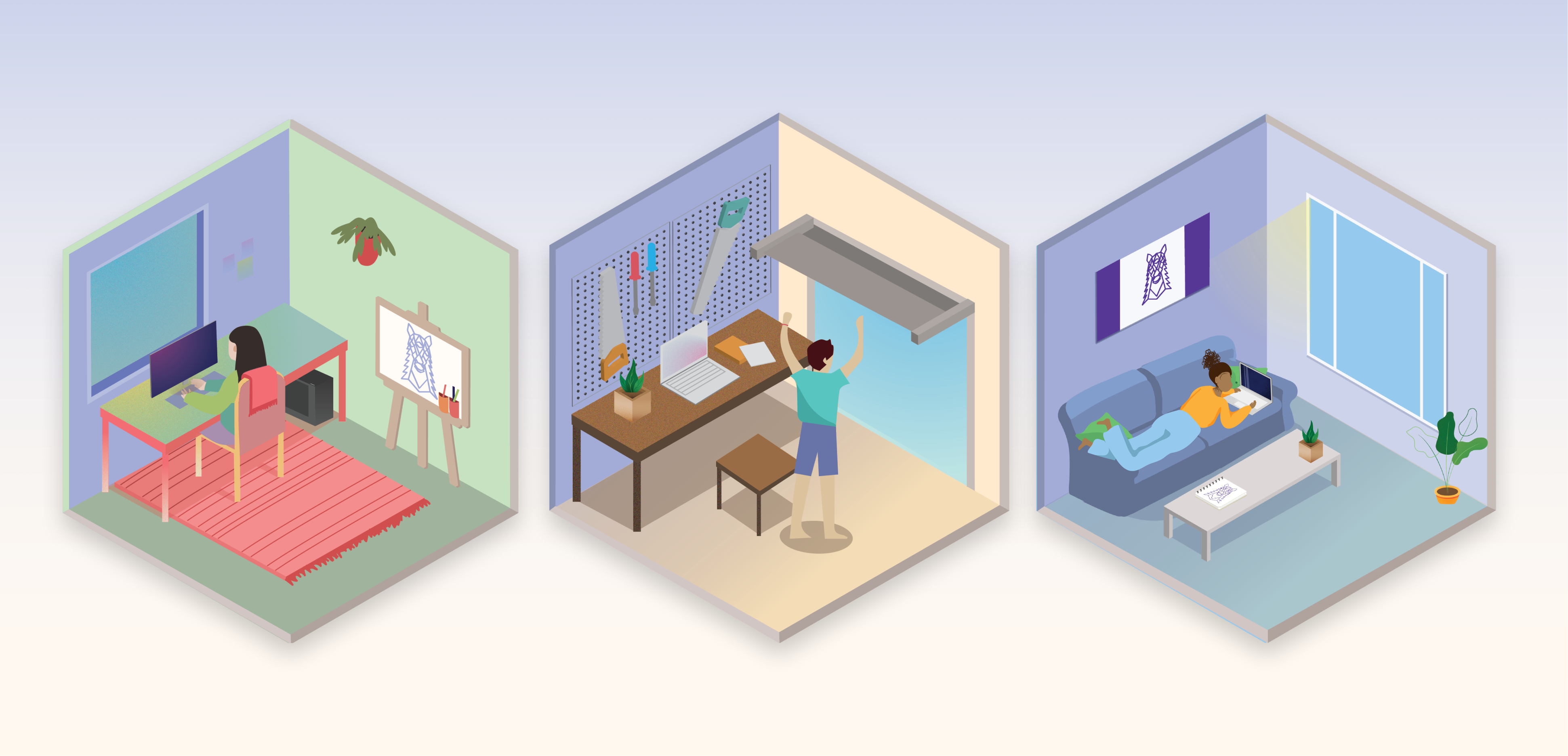 3 illustrations of isometric rooms
