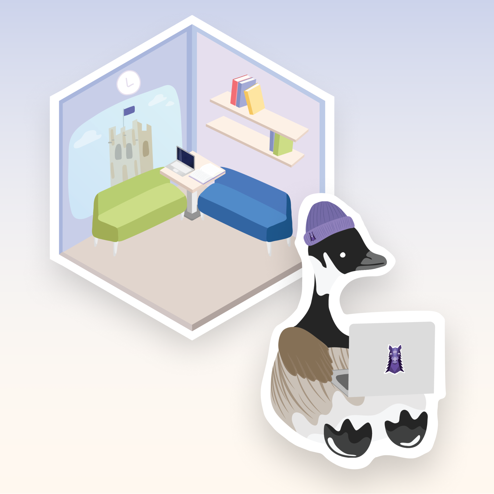 Two sticker illustrations, one of an isometric room and one of a goose hacking on a laptop wearing a Western toque