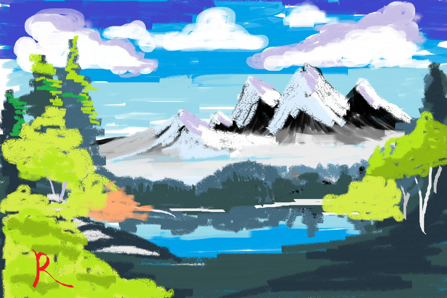 Digital illustration of a Bob Ross tutorial done on MS Paint.