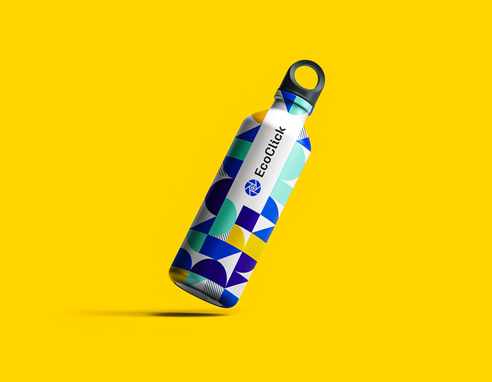 Colorful, geometric water bottle design for EcoClick