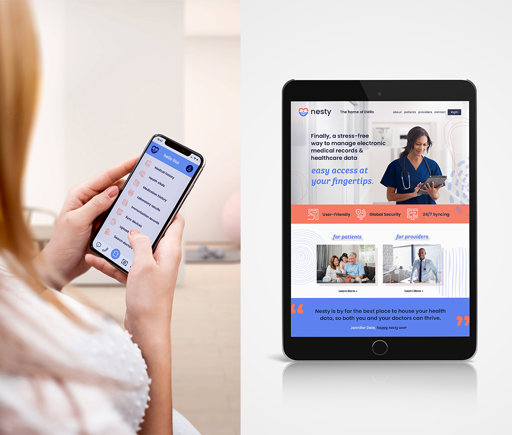 Woman using mobile phone app and homepage website for Nesty on tablet