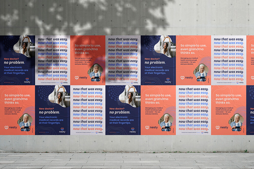 Wall street posters for Nesty, a EMR software and mobile app
