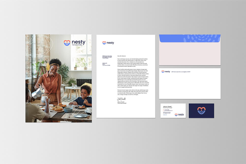 Stationary mockup design for electronic medical record company Nesty