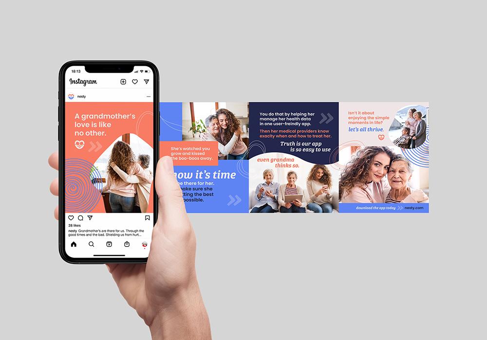 Instagram carousel story design for Nesty, the EMR software and mobile app