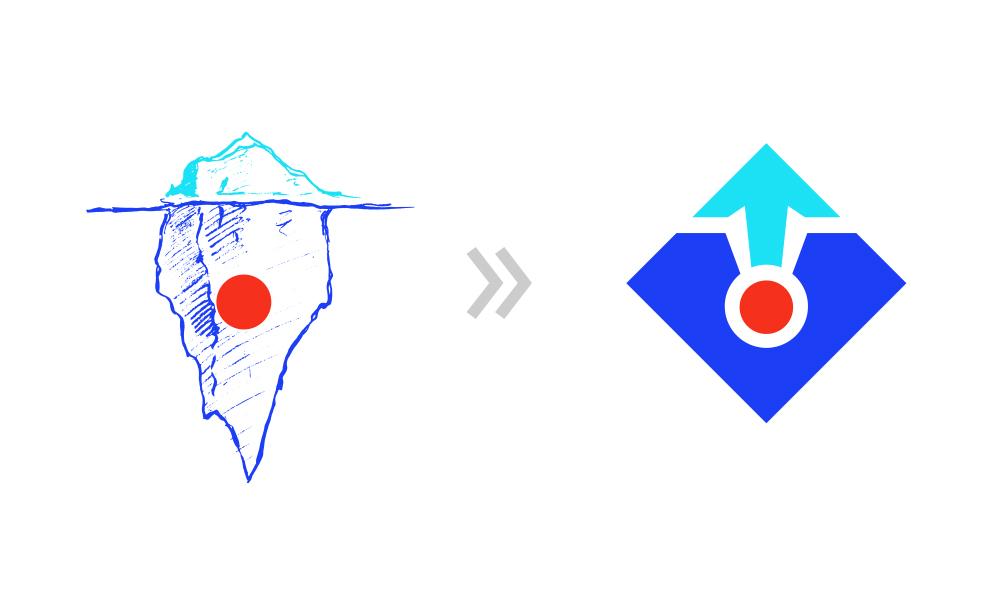 Iceberg illustration and Polarized Branding logo